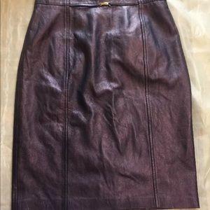 Dresses & Skirts - escada margaretha ley Purple Nappa Leather Skirt